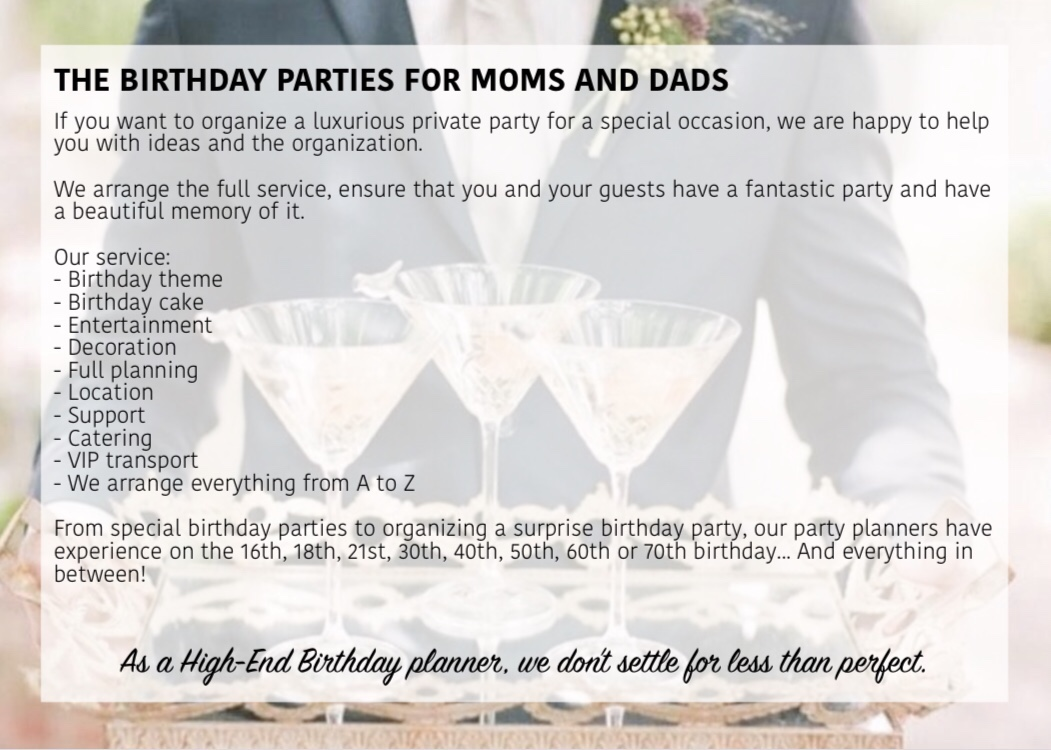 Birthday parties for moms and dads