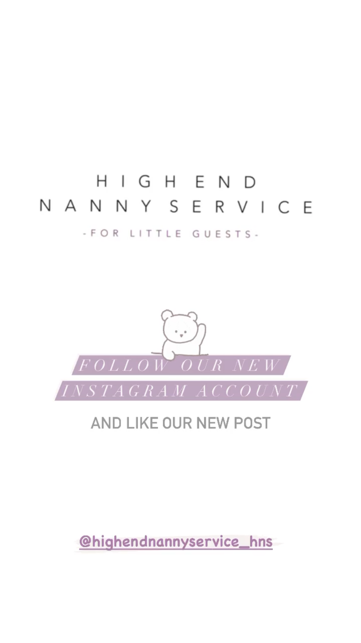 Our new High End Nanny Service Instagram account